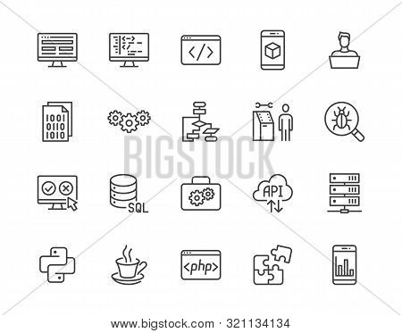 Software Development Flat Line Icons Set. Programming Language, Application, Api, Computer Program D