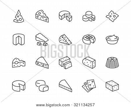 Cheese Flat Line Icons Set. Parmesan, Mozzarella, Yogurt, Dutch, Ricotta, Butter, Blue Chees Piece V
