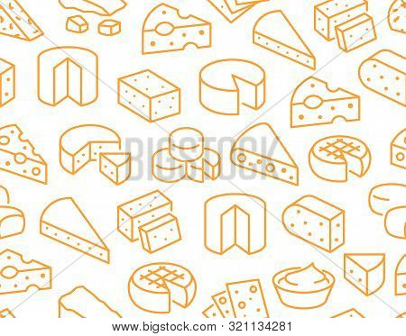 Cheese Seamless Pattern With Flat Line Icons. Vector Background, Illustrations Of Parmesan, Mozzarel