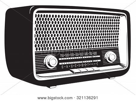 Black And White Vector Image Of An Old Radio Receiver Of The Last Century In Retro Style. Isometric