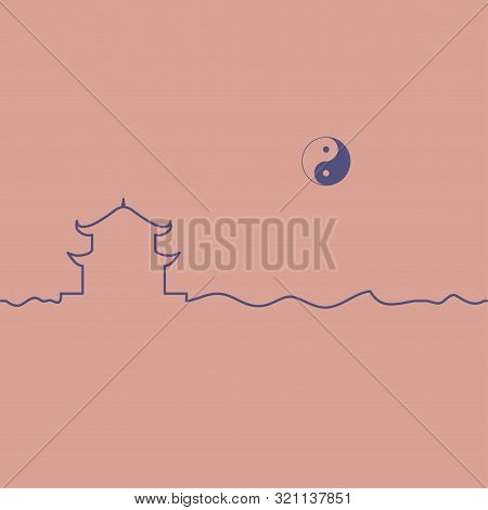poster of Taoism temple and yin yang symbol. One line drawing. Vector.