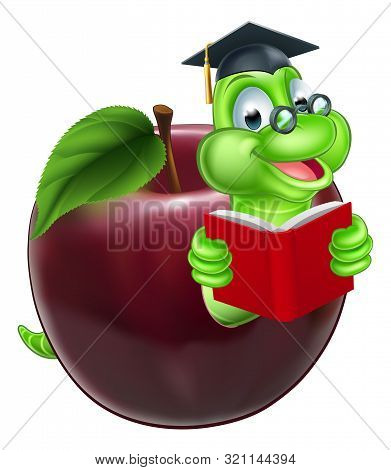 A Happy Cute Cartoon Caterpillar Bookworm Worm Or Caterpillar Reading A Book And Coming Out Of An Ap
