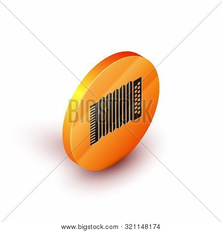 Isometric Musical instrument accordion icon isolated on white background. Classical bayan, harmonic. Orange circle button. Vector Illustration poster