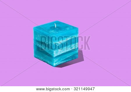 Large Square Multilayer Turquoise Color Interior Candle