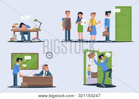 Students Passing Exams Vector Illustrations Set. Test Preparations. Tired Teenager Sleeping On Desk.