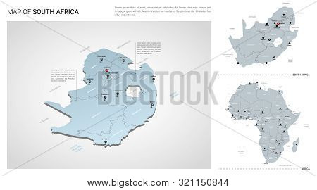 Vector Set Of South Africa Country.  Isometric 3d Map, South Africa Map, Africa Map - With Region, S