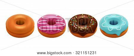 Sweet Glazed Donuts Isolated On White Background. Realistic Donuts Vector Set. Sweet Breakfast, Colo