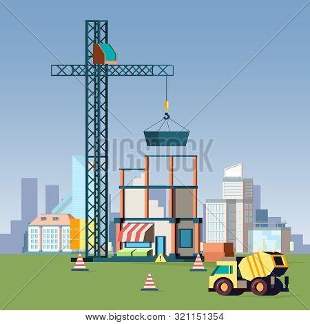 House Construction. Urban Landscape With Buildings Construction City Vector Background. Construction