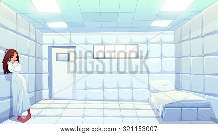 Woman In Straitjacket In Asylum, Girl Patient Of Mentally Clinic. Madhouse Room With Bed, Padded Sof