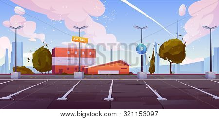 City Street Parking With Parallel Lots, Empty Car Parking Spaces On Industrial Outskirts With Road S