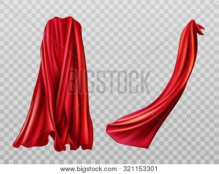 Red Cloaks Set. Silk Flattering Capes Back And Side View Isolated On Transparent Background. Carniva