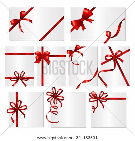 Gift Cards Ribbons. Frames Or Banners With Red Silk Ribbons And Bows Vector Template. Card With Red