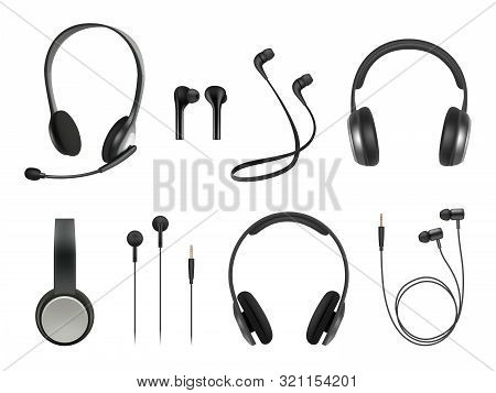 Headset Realistic. Earbuds Music Modern Equipment Wireless Headset Vector Collection. Illustration H