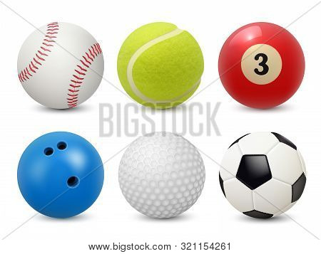 Sport Equipment. Realistic Balls Billiard Football Tennis Baseball Golf And Bowling Vector Collectio