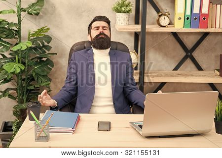 Zen Like. Businessman Meditate In Formal Outfit. Confident Man Relax On Mediation. Boss Meditate At