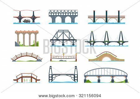 Bridges. Wooden Iron Aqueduc With Column Modern Architectural Objects Vector Bridge In Flat Style. I