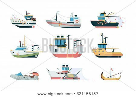 Fishing Ship. Marine Sea Or Ocean Transport Different Fishing Sailing Boats Vector Flat Pictures. Fi