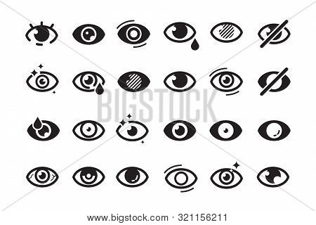 Eyes Symbols. Closed Opening Eye Human Parts Optical Medical Healthcare Insomnia Cataract Good Looki