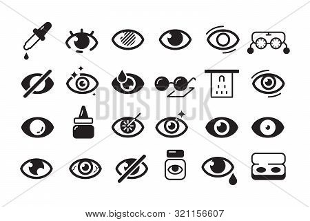 Optometry Icon. Ophthalmology Symbols Eye Doctor Lens Optician Vector Line Collection. Illustration
