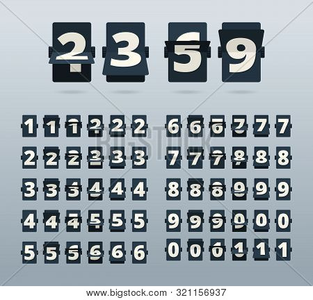 Time Numbers. Flip Clock Template Countdown Vector Template. Illustration Number Mechanism, Digit An