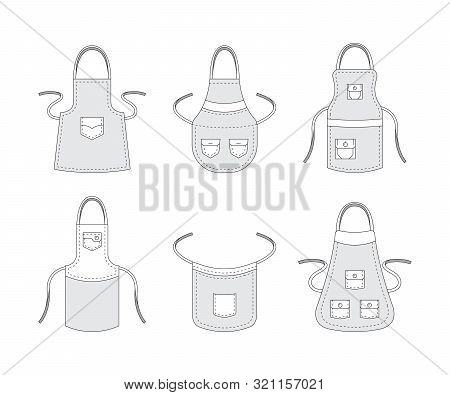 Kitchen Aprons. Professional Clothes For Cook Preparing Food Accessories Aprons With Pockets Vector