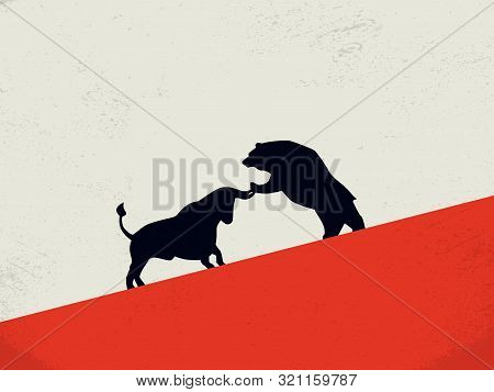 Bull Vs Bear Stock Exchange Market Vector Concept With Animal Icons Fighting. Symbol Of Bearish And