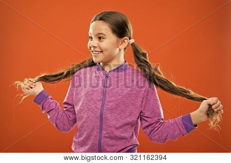 Get Rid Of Split Ends. Girl Cute Child With Long Hair Double Ponytails Hairstyle. Split Ends Treatme