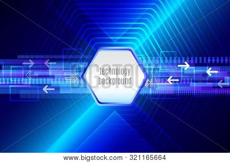 Blue Hi-tech Futuristic Abstract Background Template With Square. Glowing Straight Techno Lines.