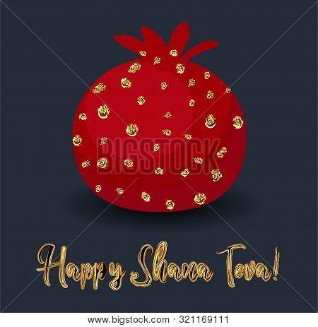 Rosh Hashana Greeting Card With Abstract Pomegranate Illustration. Modern Jewish New Year Greeting C