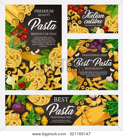 Pasta Cuisine Dish With Greens And Vegetables. Vector Italian Pasta With Spices, Spaghetti And Penne
