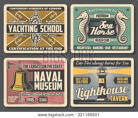 Marine Adventure, Yachting School, Beach Club, Naval Museum And Lighthouse Tavern. Vector Nautical S