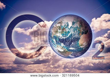 Presence Of Co2 In The Atmosphere - Concept Image With An Earth Image. - Photo Composition With Imag