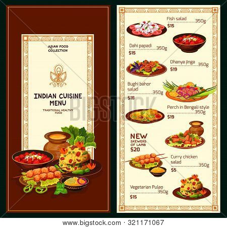 Indian Cuisine Food Menu. Vector Fish Salad And Dahi Papadi Dishes, Dhanuya Jinga And Bughi Bahor Sa