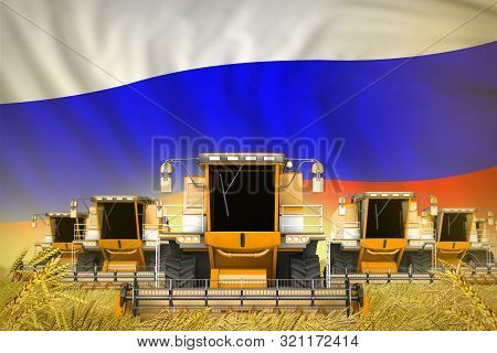 Industrial 3d Illustration Of Many Yellow Farming Combine Harvesters On Rural Field With Russia Flag