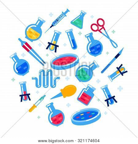 Laboratory Equipment On White Background. Nanotechnology And Biochemistry. Round Composition With Fl