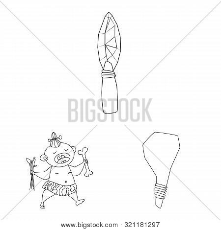 Isolated Object Of Primitive And Archeology Symbol. Collection Of Primitive And History Stock Symbol