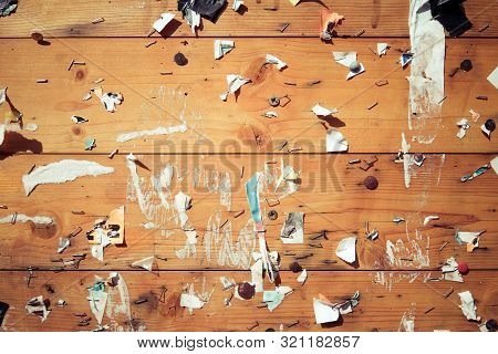 Old Notice Board With Scraps Of Papers - Abstract Detail