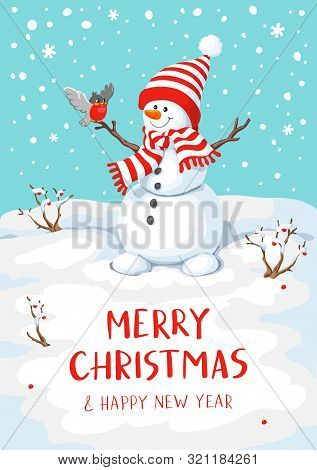 Vector Snowman With Bird. Snowman Greeting. Cute Christmas Greeting Card With Snowman And Bullfinch.