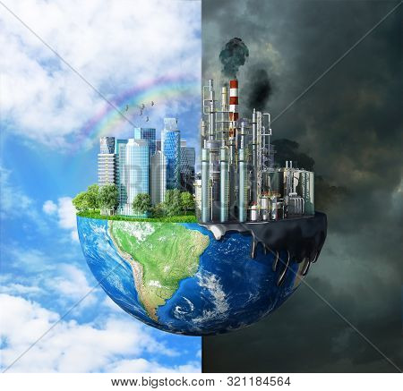 Concept Of Global Disaster. The Contrast Between Pure Nature, Bright Sky, Trees And Polluting Cities