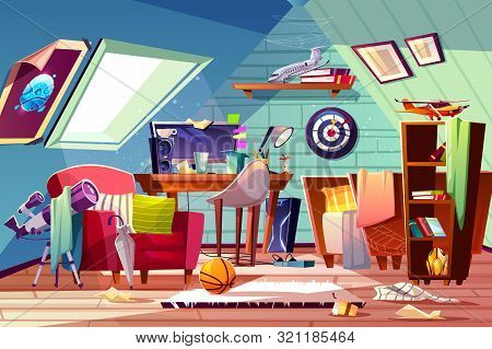 Messy attic kids room interior with uncovered bed, clutter on desk, scattered clothes and toys cartoon illustration. Garret bedroom belonging carelessness teenager boy. Cleaning in child room poster