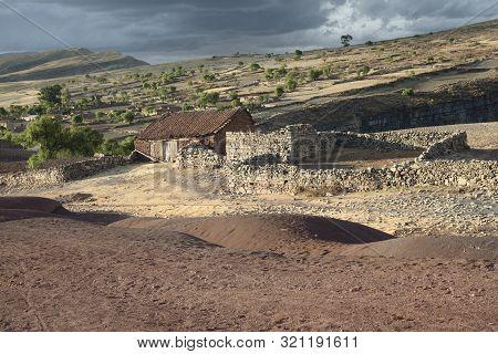 Scenic Landscape At Maragua Crater. Village Inside The Crater Of Maragua Dormant Volcano, Bolivia