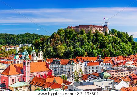 Ljubljana, Slovenia. Old Town And The Medieval Castle.
