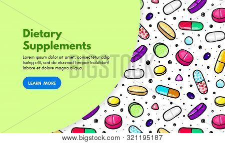 Vector Background With Pills And Capsules. Medicine Or Dietary Supplements. Doodle. Design For Clini