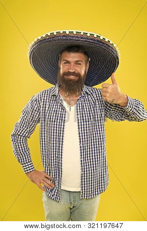 Lets Have Fun. Mexican Guy Happy Festive Outfit Ready To Celebrate. Man Bearded Cheerful Guy Wear So