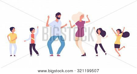 Flat Dancing People. Happy Kids And Adults Dancers Vector Characters. Male And Female Dance Battle C