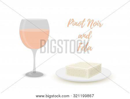 Vector Cartoon Pinot Noir, Pink Wine With Feta