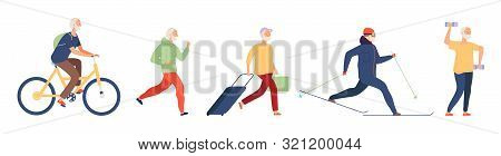 Elderly Man. Flat Old Male Vector Character. Active Life Of Elderly Man. Grandfather Active Lifestyl