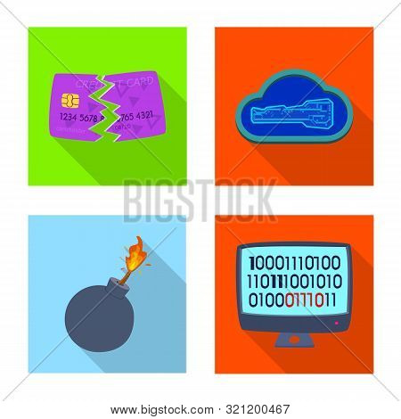 Vector Design Of Virus And Secure Symbol. Set Of Virus And Cyber Vector Icon For Stock.