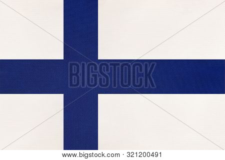 Finland National Fabric Flag, Textile Background. Symbol Of International European Scandinavian Worl