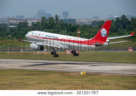 Chengdu Airport, Sichuan Province, China - August 28, 2019 : Sichuan Airlines Airbus A330 Commercial